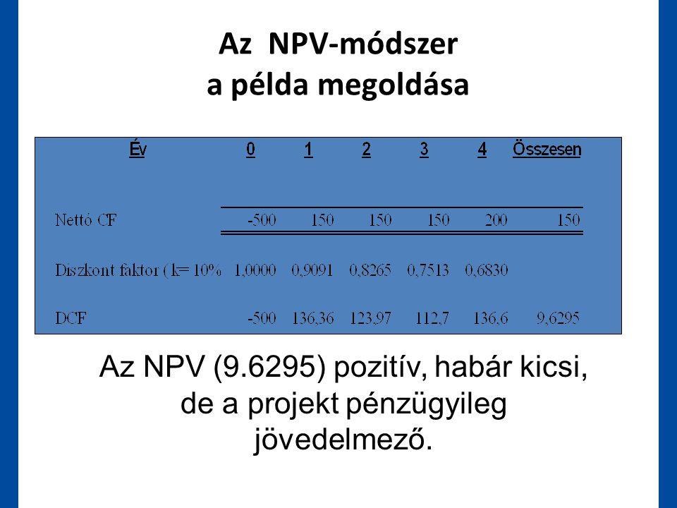 Az NPV-módszer a példa megoldása