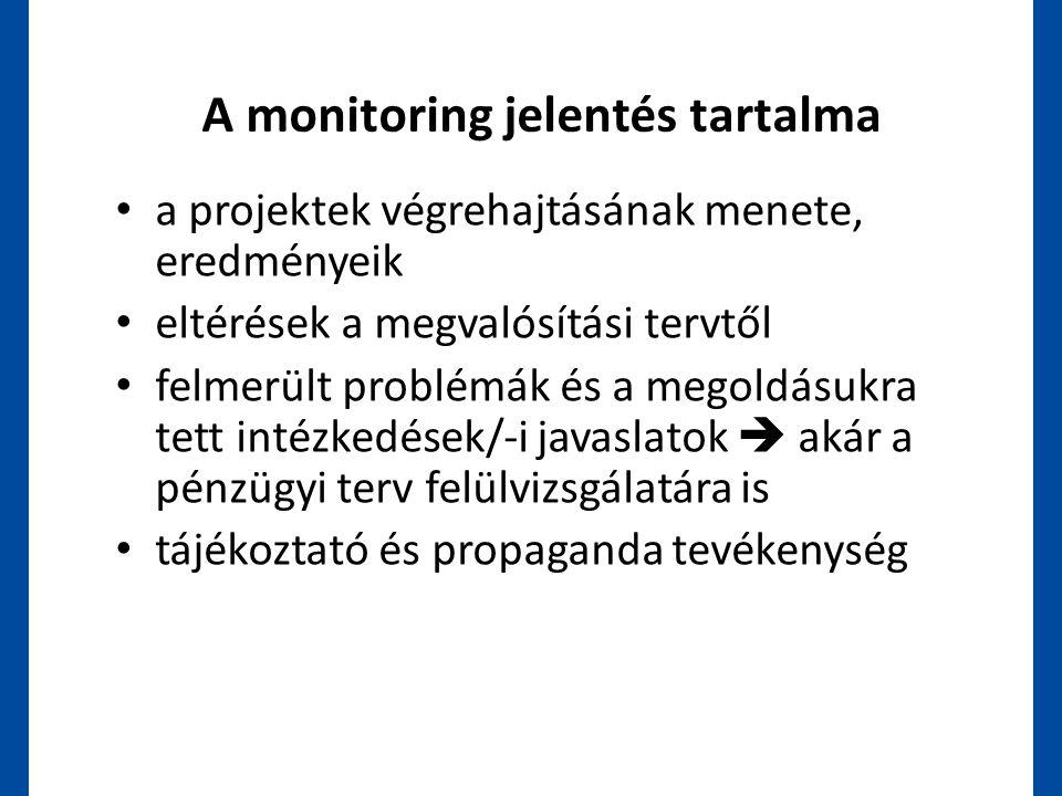 A monitoring jelentés tartalma