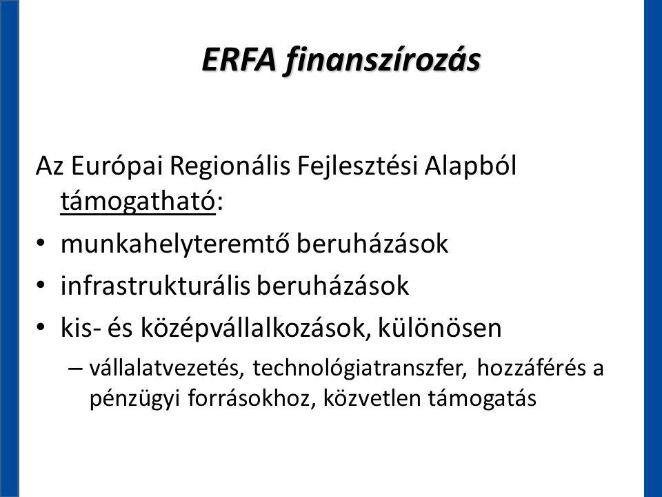 ERFA finanszírozás Az Európai Regionális Fejlesztési Alapból támogatható: munkahelyteremtő beruházások.