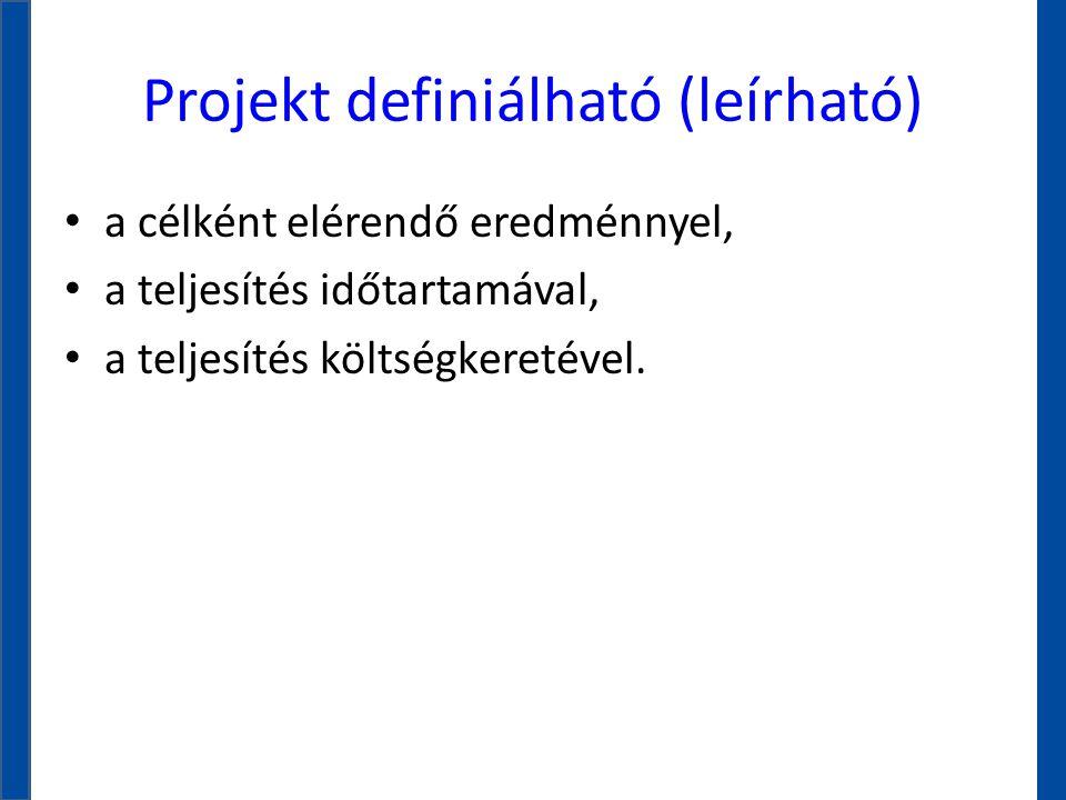 Projekt definiálható (leírható)