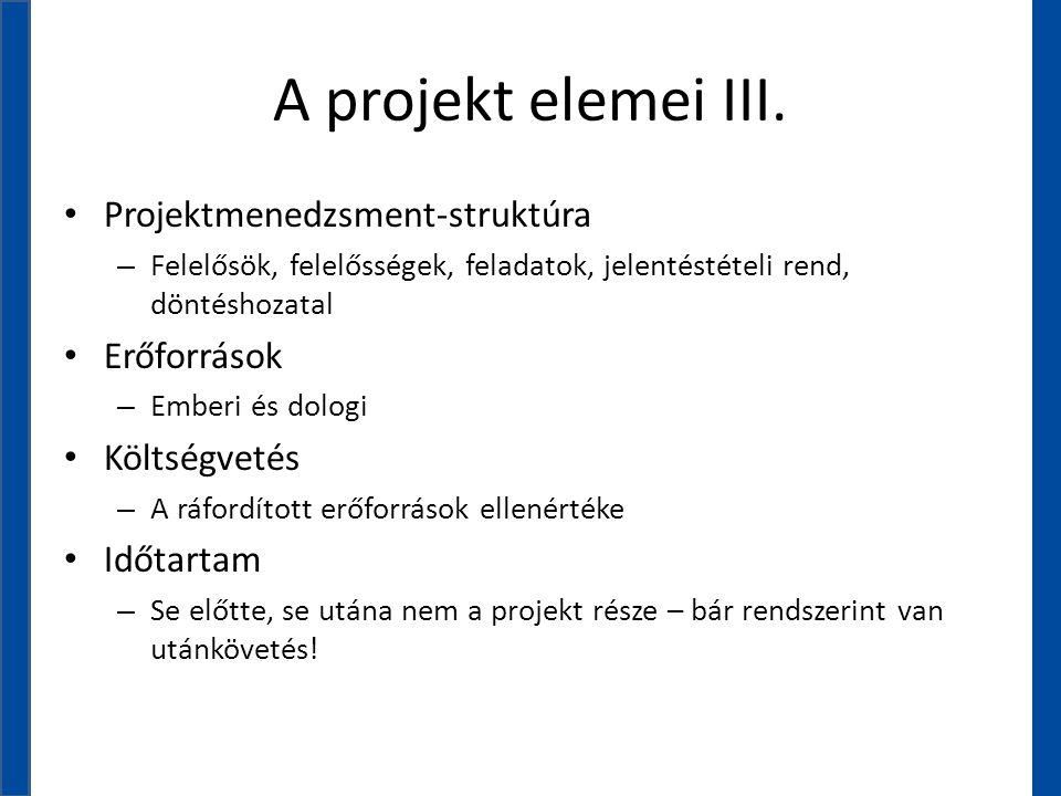 A projekt elemei III. Projektmenedzsment-struktúra Erőforrások