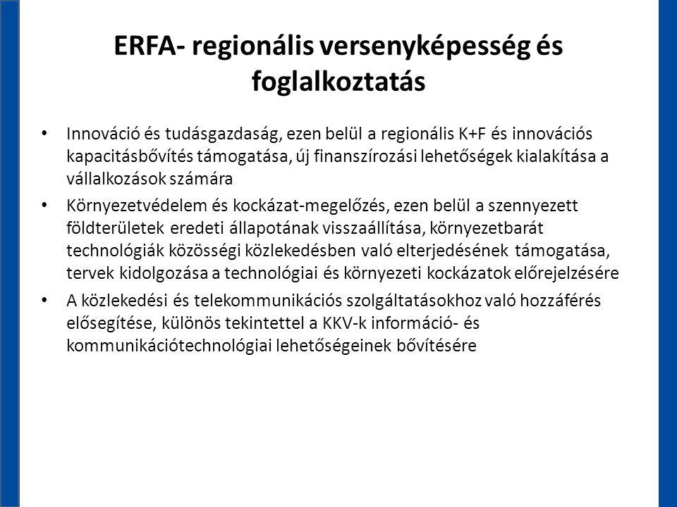 ERFA- regionális versenyképesség és foglalkoztatás