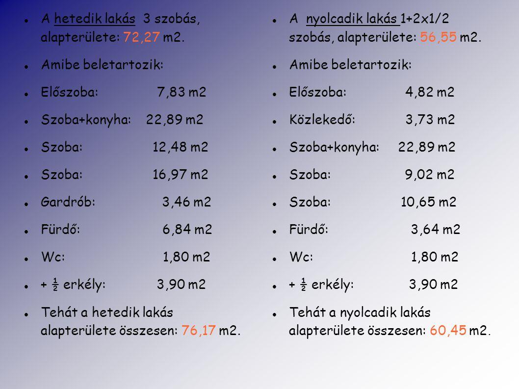 A hetedik lakás 3 szobás, alapterülete: 72,27 m2.