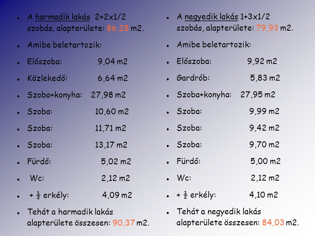 A harmadik lakás 2+2x1/2 szobás, alapterülete: 86,28 m2.