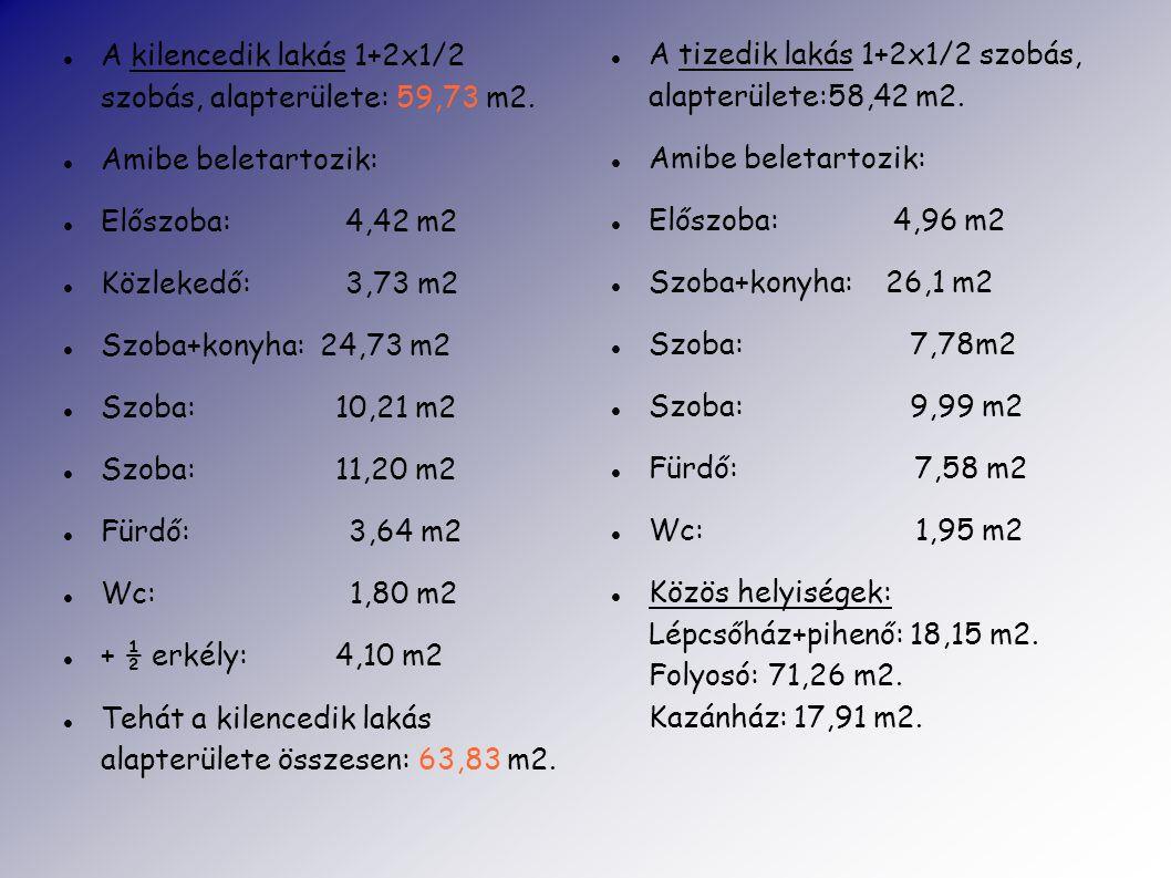 A kilencedik lakás 1+2x1/2 szobás, alapterülete: 59,73 m2.