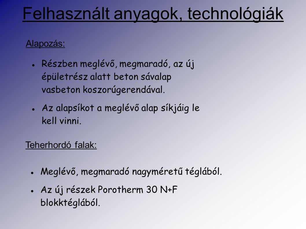 Felhasznált anyagok, technológiák