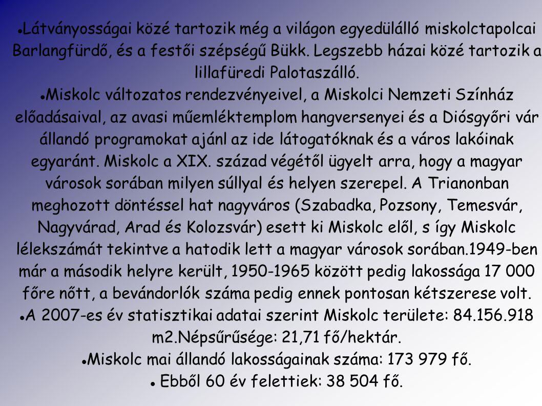 Miskolc mai állandó lakosságainak száma: 173 979 fő.