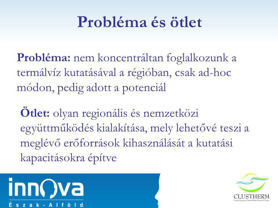 Probléma és ötlet Probléma: nem koncentráltan foglalkozunk a termálvíz kutatásával a régióban, csak ad-hoc módon, pedig adott a potenciál.