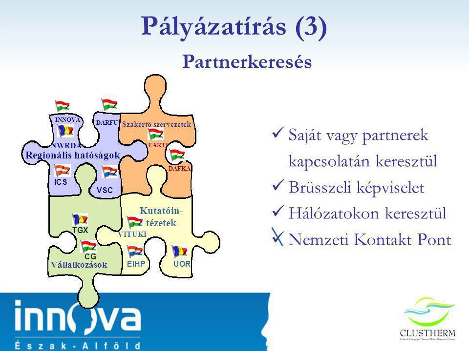 Pályázatírás (3) Partnerkeresés Saját vagy partnerek