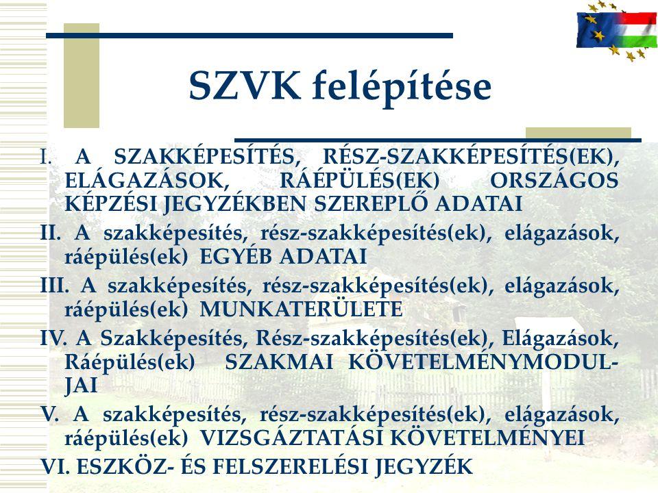 SZVK felépítése I. A SZAKKÉPESÍTÉS, RÉSZ-SZAKKÉPESÍTÉS(EK), ELÁGAZÁSOK, RÁÉPÜLÉS(EK) ORSZÁGOS KÉPZÉSI JEGYZÉKBEN SZEREPLŐ ADATAI.
