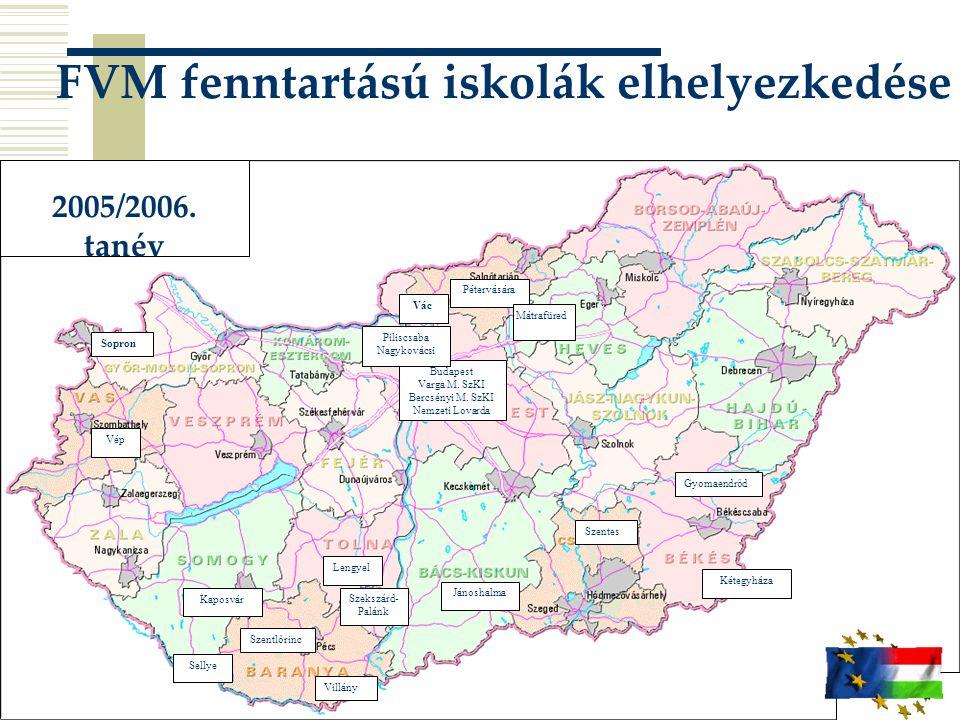 FVM fenntartású iskolák elhelyezkedése