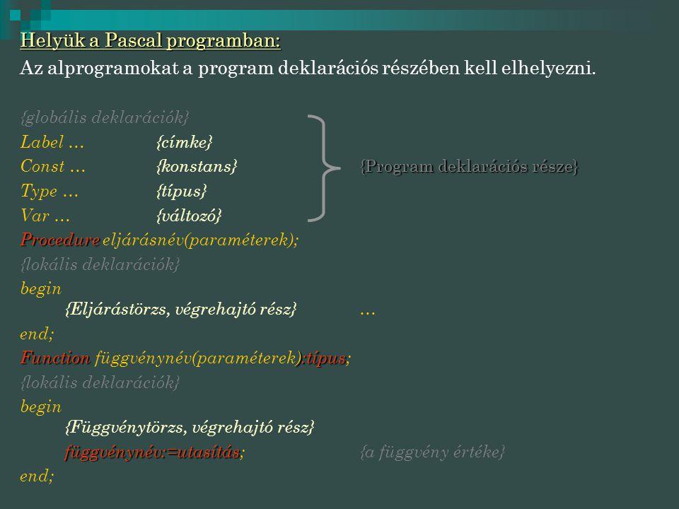 Helyük a Pascal programban: