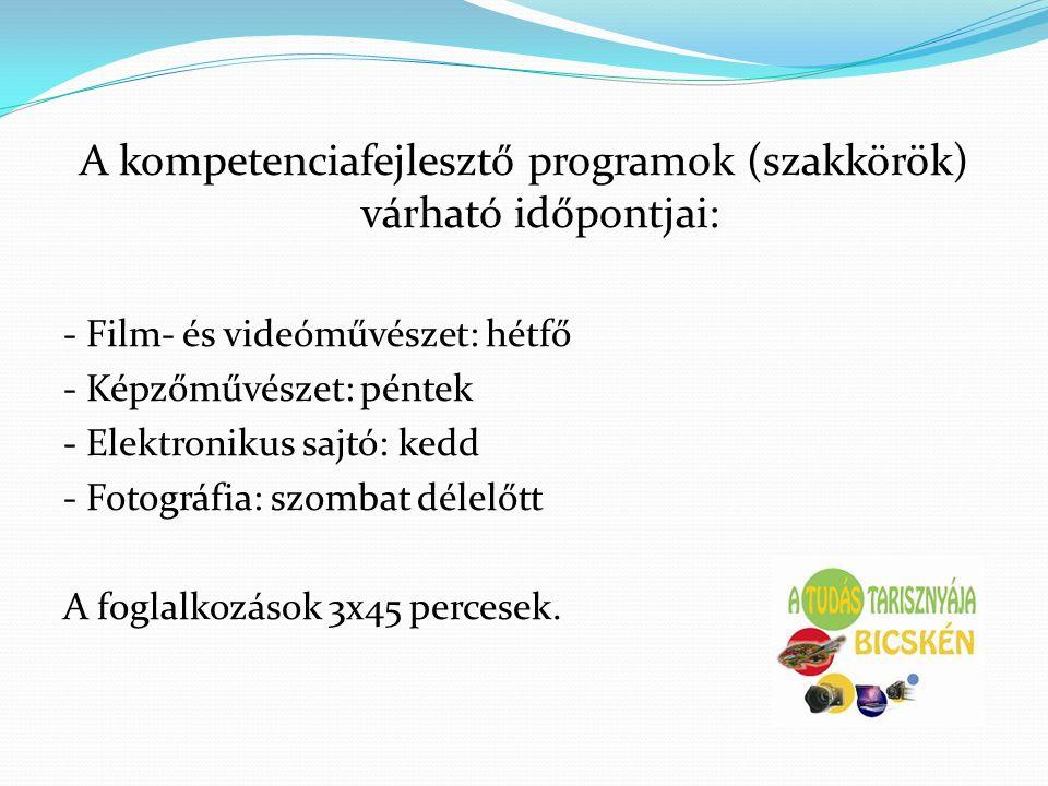 A kompetenciafejlesztő programok (szakkörök) várható időpontjai: