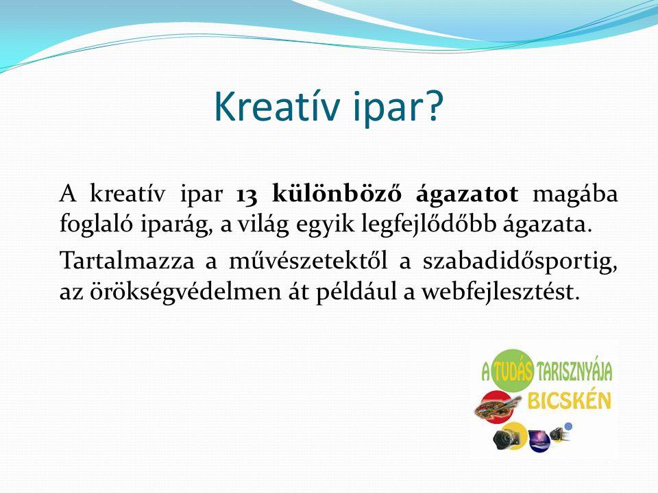 Kreatív ipar A kreatív ipar 13 különböző ágazatot magába foglaló iparág, a világ egyik legfejlődőbb ágazata.