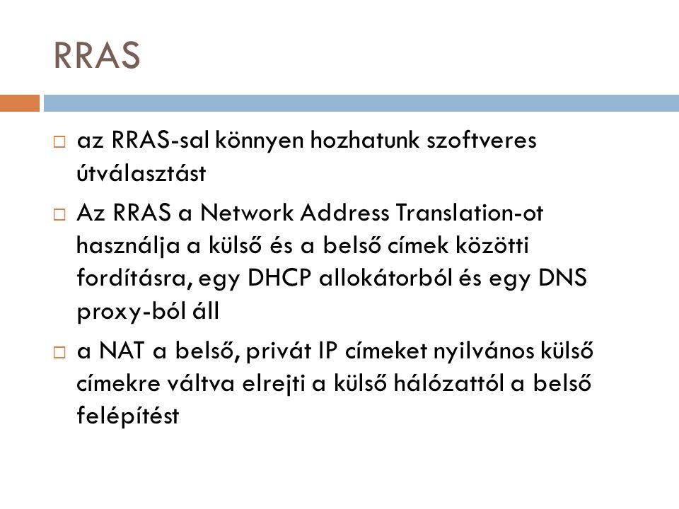 RRAS az RRAS-sal könnyen hozhatunk szoftveres útválasztást