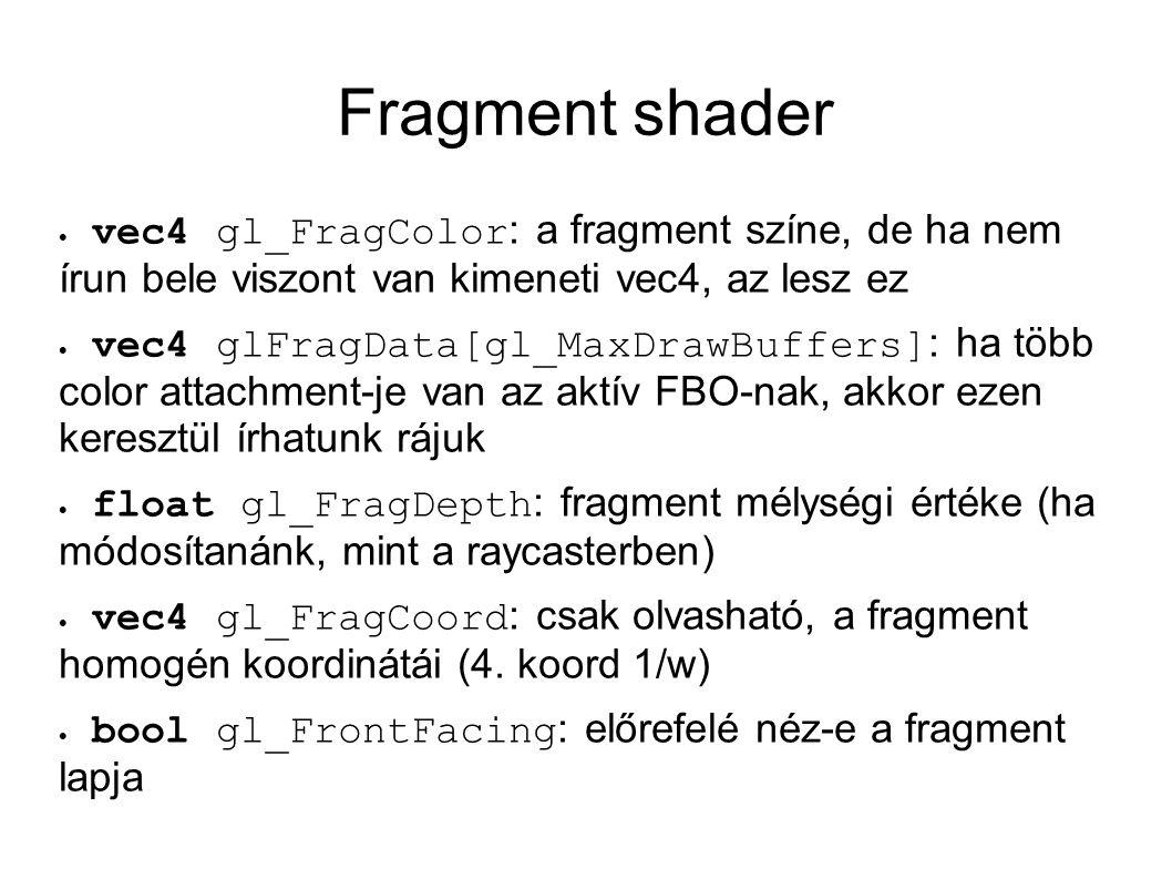Fragment shader vec4 gl_FragColor: a fragment színe, de ha nem írun bele viszont van kimeneti vec4, az lesz ez.