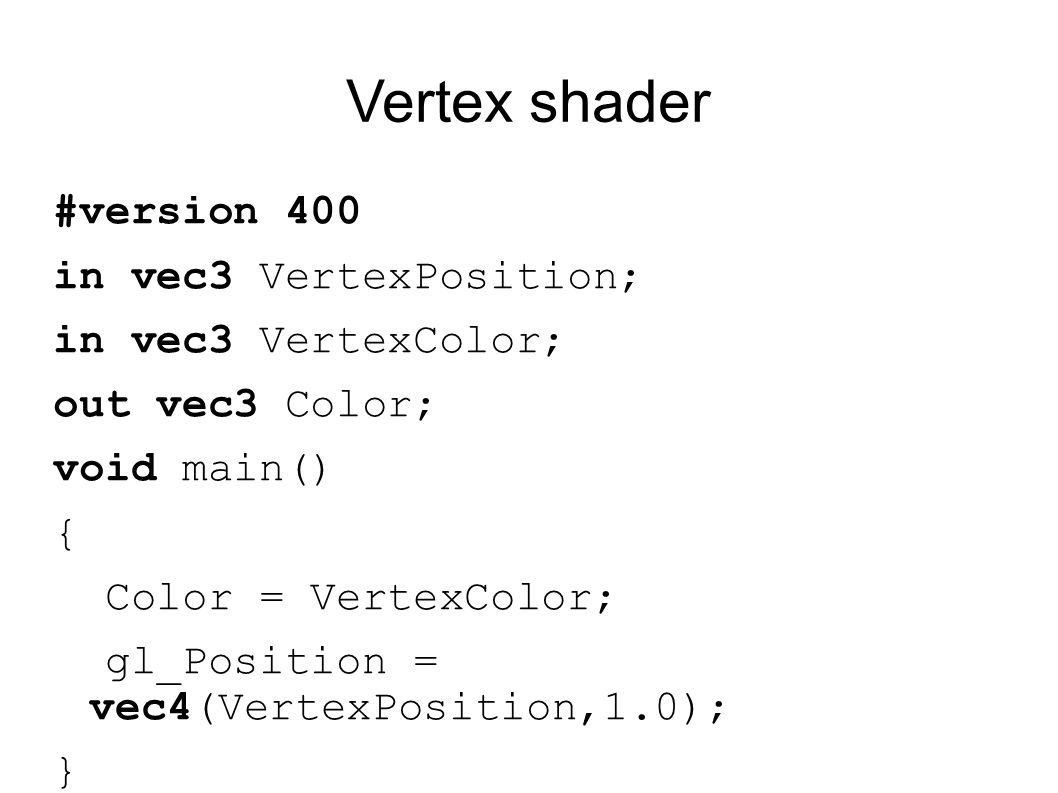 Vertex shader #version 400 in vec3 VertexPosition;