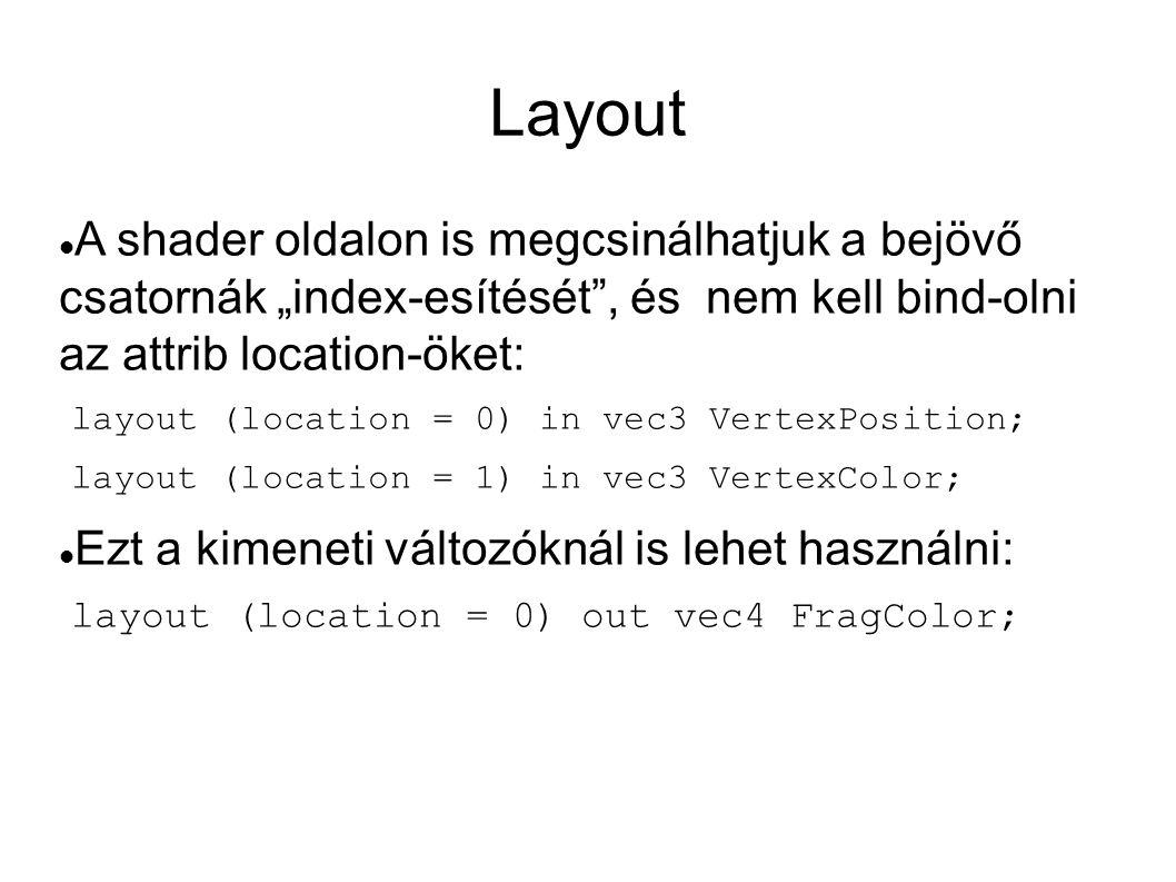 """Layout A shader oldalon is megcsinálhatjuk a bejövő csatornák """"index-esítését , és nem kell bind-olni az attrib location-öket:"""