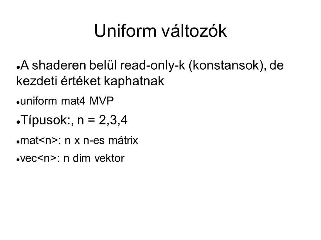 Uniform változók A shaderen belül read-only-k (konstansok), de kezdeti értéket kaphatnak. uniform mat4 MVP.
