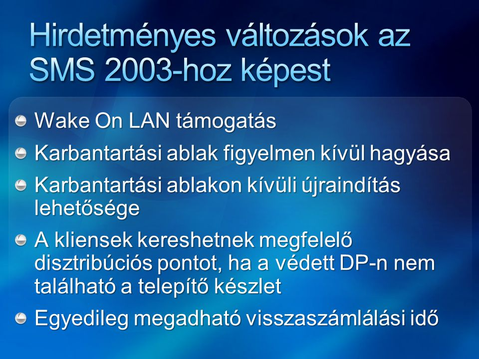 Hirdetményes változások az SMS 2003-hoz képest