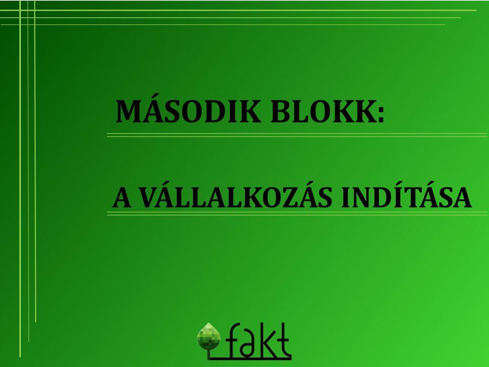 Második blokk: A vállalkozás indítása