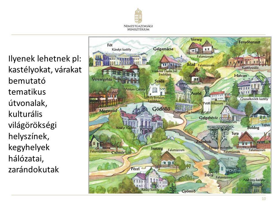 Ilyenek lehetnek pl: kastélyokat, várakat bemutató tematikus útvonalak, kulturális világörökségi helyszínek, kegyhelyek hálózatai, zarándokutak
