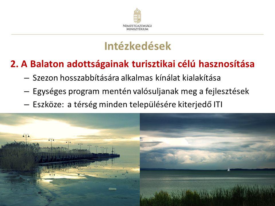 Intézkedések 2. A Balaton adottságainak turisztikai célú hasznosítása