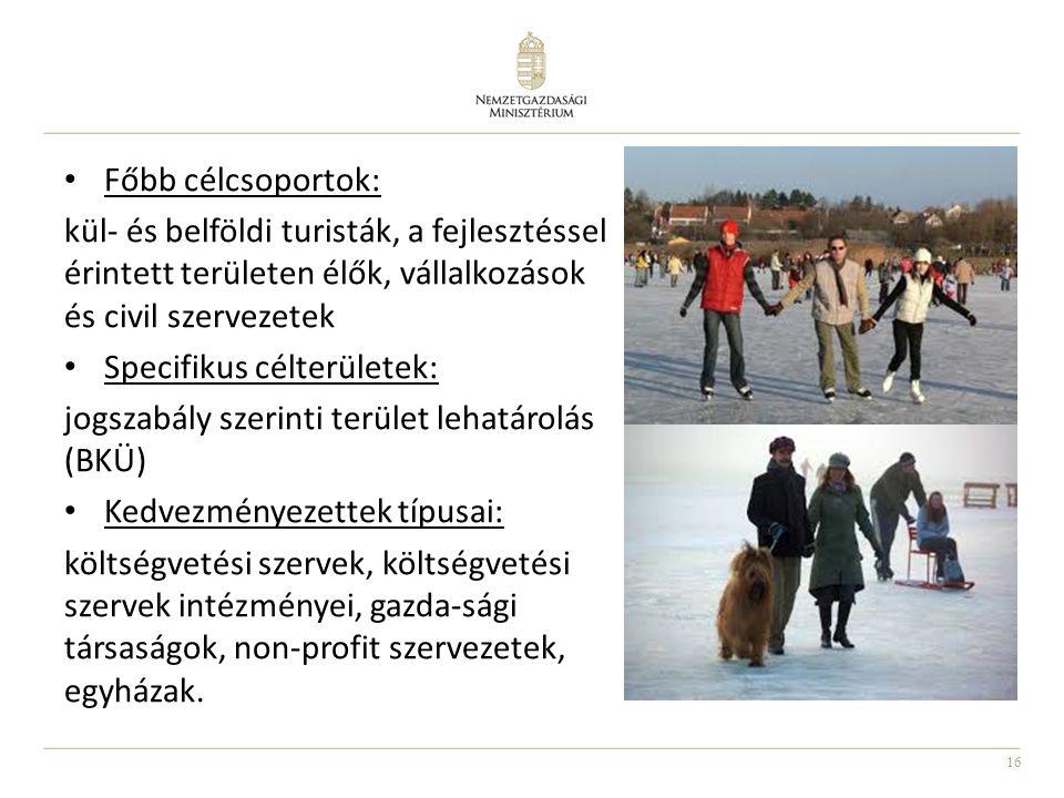 Főbb célcsoportok: kül- és belföldi turisták, a fejlesztéssel érintett területen élők, vállalkozások és civil szervezetek.