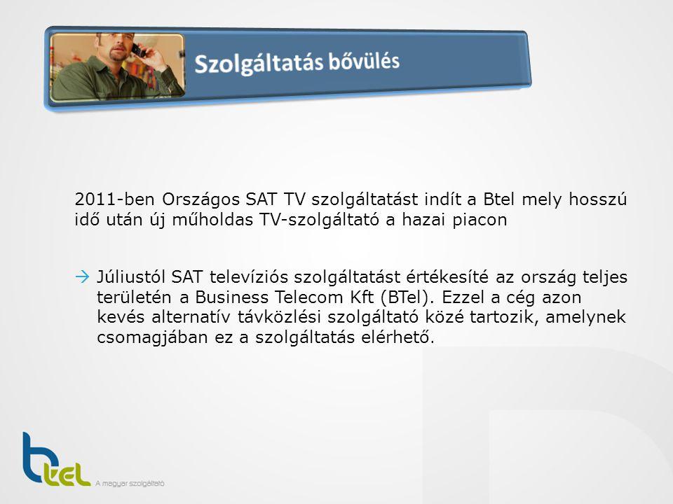 Szolgáltatás bővülés 2011-ben Országos SAT TV szolgáltatást indít a Btel mely hosszú idő után új műholdas TV-szolgáltató a hazai piacon.
