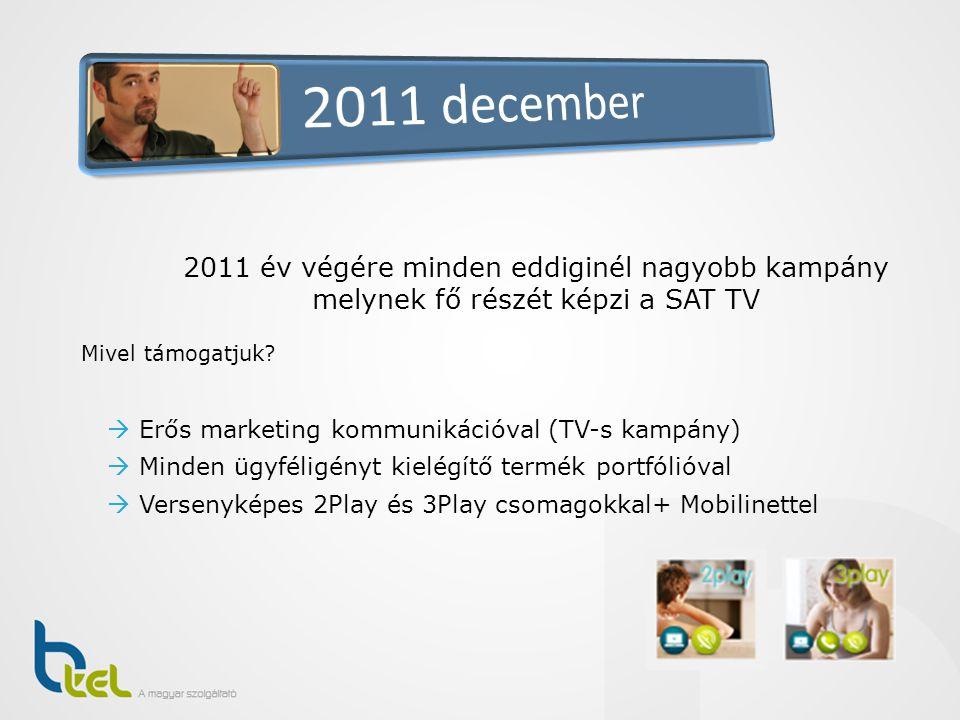2011 december 2011 év végére minden eddiginél nagyobb kampány melynek fő részét képzi a SAT TV. Mivel támogatjuk