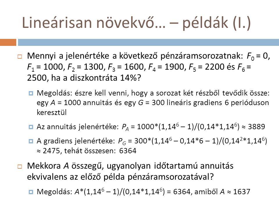 Lineárisan növekvő… – példák (I.)