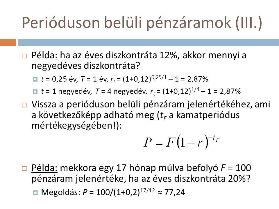 Perióduson belüli pénzáramok (III.)