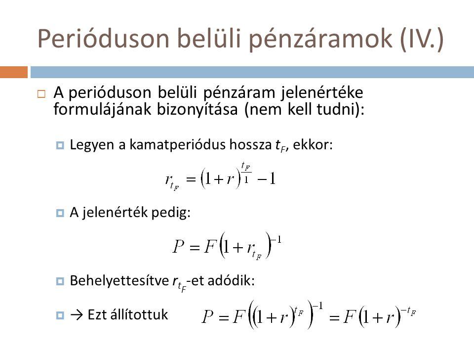 Perióduson belüli pénzáramok (IV.)