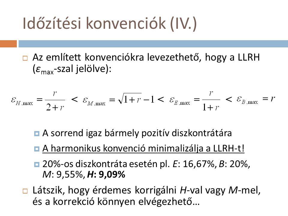 Időzítési konvenciók (IV.)