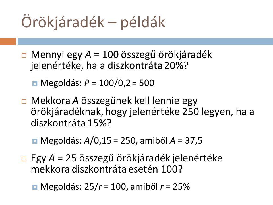 Örökjáradék – példák Mennyi egy A = 100 összegű örökjáradék jelenértéke, ha a diszkontráta 20% Megoldás: P = 100/0,2 = 500.