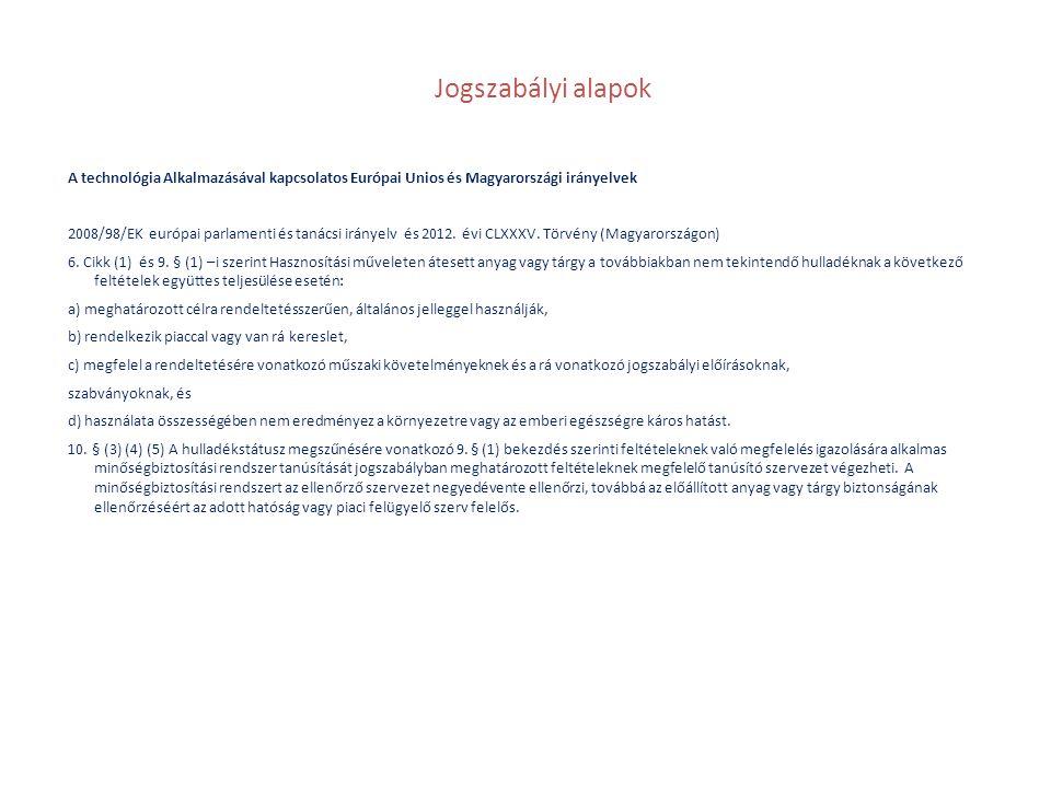Jogszabályi alapok A technológia Alkalmazásával kapcsolatos Európai Unios és Magyarországi irányelvek.