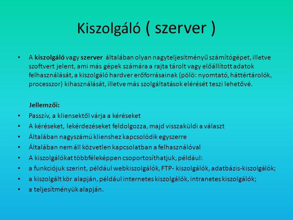 Kiszolgáló ( szerver )