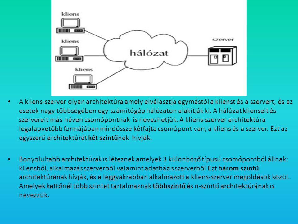 A kliens-szerver olyan architektúra amely elválasztja egymástól a klienst és a szervert, és az esetek nagy többségében egy számítógép hálózaton alakítják ki. A hálózat klienseit és szervereit más néven csomópontnak is nevezhetjük. A kliens-szerver architektúra legalapvetőbb formájában mindössze kétfajta csomópont van, a kliens és a szerver. Ezt az egyszerű architektúrát két szintűnek hívják.