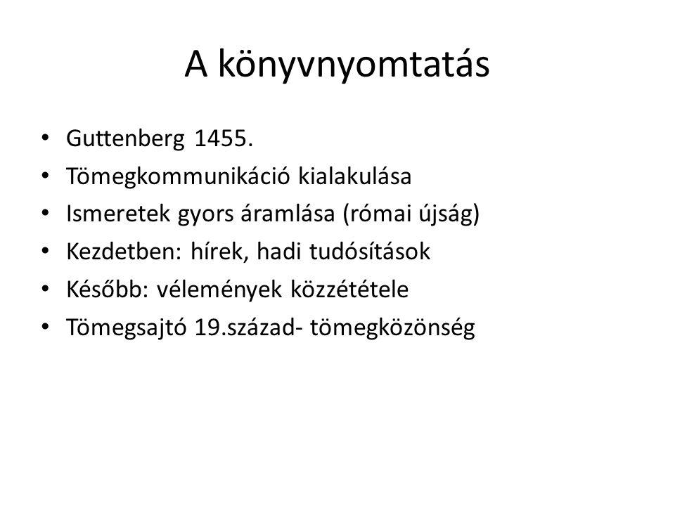 A könyvnyomtatás Guttenberg 1455. Tömegkommunikáció kialakulása