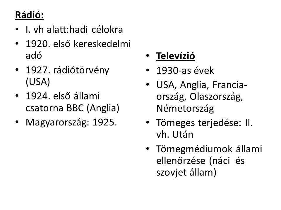 Rádió: I. vh alatt:hadi célokra. 1920. első kereskedelmi adó. 1927. rádiótörvény (USA) 1924. első állami csatorna BBC (Anglia)