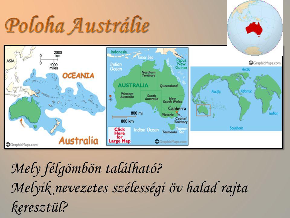 Poloha Austrálie Mely félgömbön található