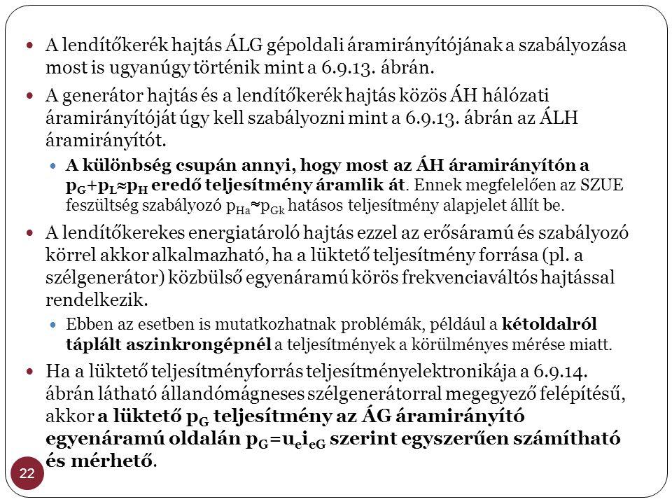 A lendítőkerék hajtás ÁLG gépoldali áramirányítójának a szabályozása most is ugyanúgy történik mint a 6.9.13. ábrán.