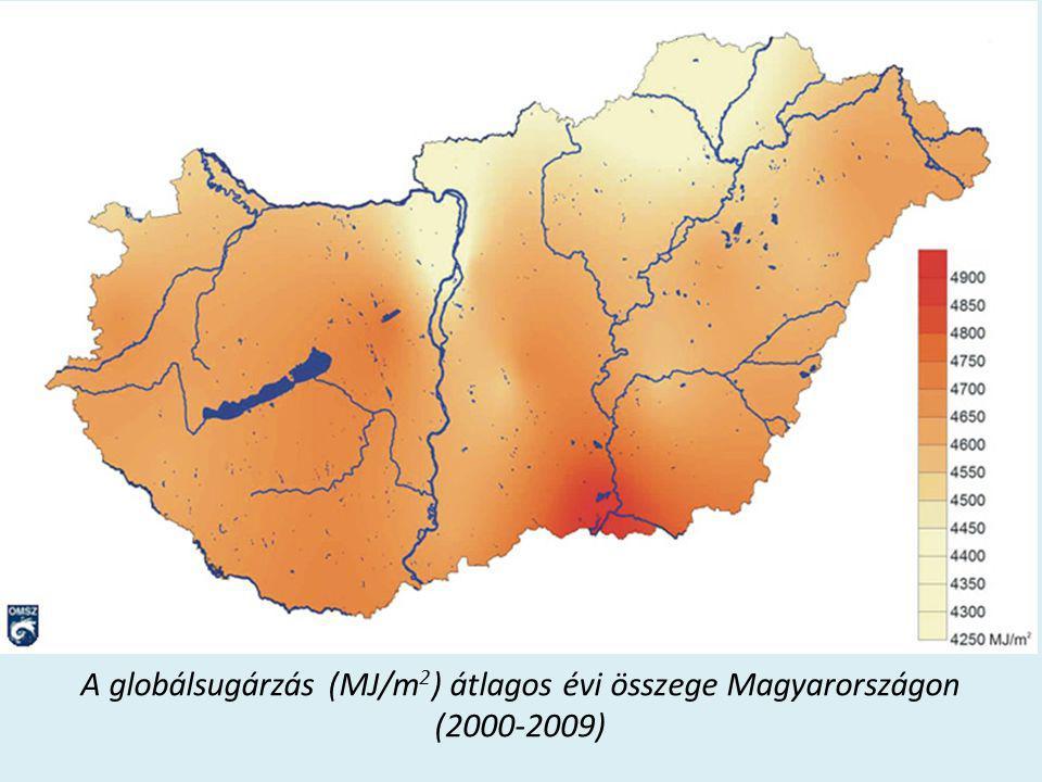 A globálsugárzás (MJ/m2) átlagos évi összege Magyarországon (2000-2009)