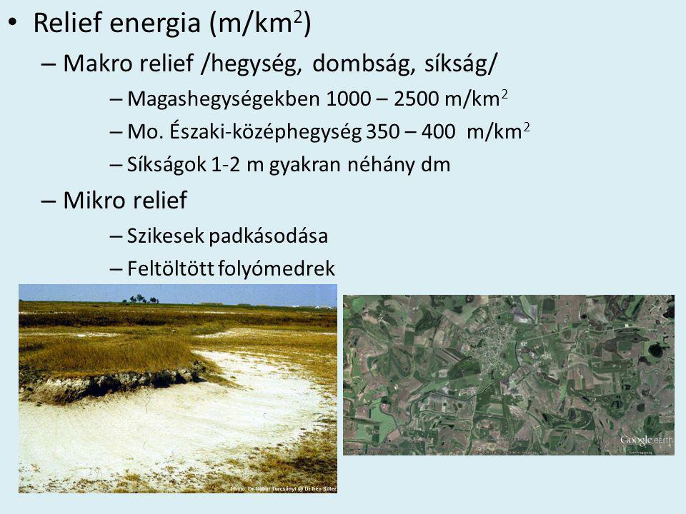 Relief energia (m/km2) Makro relief /hegység, dombság, síkság/