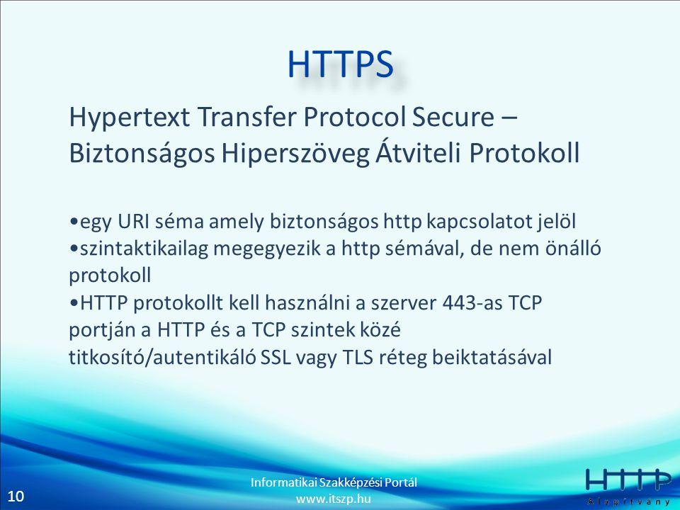 HTTPS Hypertext Transfer Protocol Secure – Biztonságos Hiperszöveg Átviteli Protokoll. egy URI séma amely biztonságos http kapcsolatot jelöl.