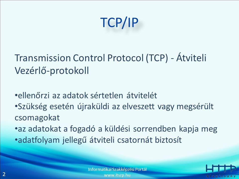 TCP/IP Transmission Control Protocol (TCP) - Átviteli Vezérlő-protokoll. ellenőrzi az adatok sértetlen átvitelét.