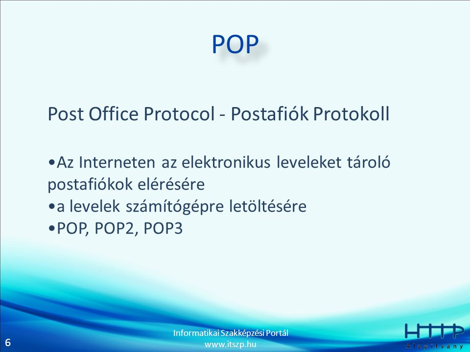 POP Post Office Protocol - Postafiók Protokoll