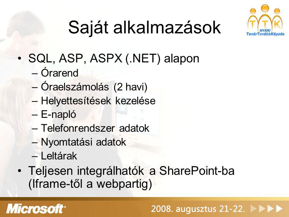 Saját alkalmazások SQL, ASP, ASPX (.NET) alapon