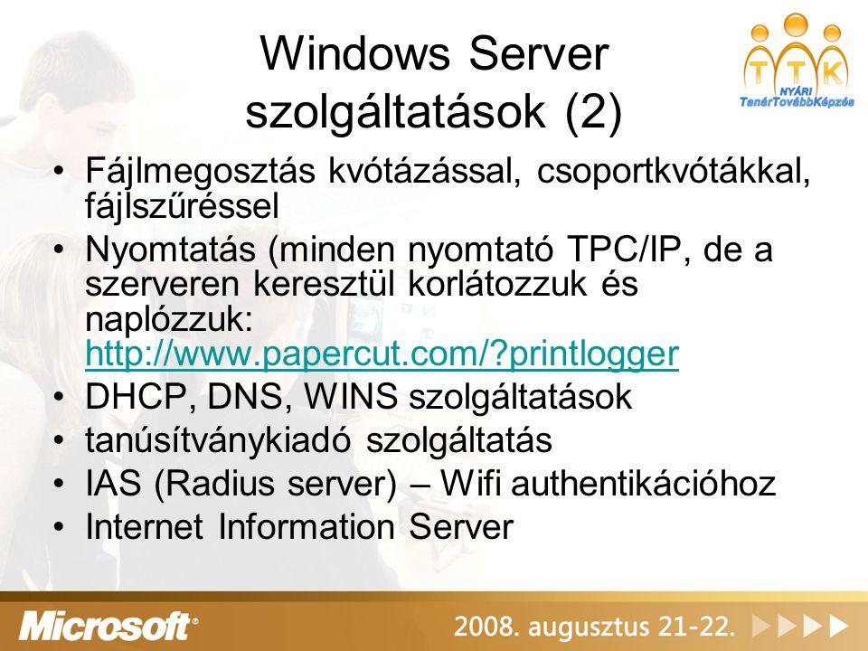 Windows Server szolgáltatások (2)
