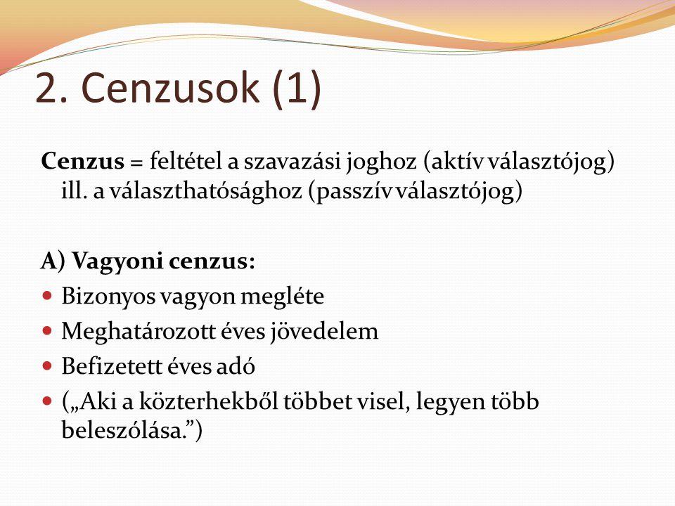 2. Cenzusok (1) Cenzus = feltétel a szavazási joghoz (aktív választójog) ill. a választhatósághoz (passzív választójog)